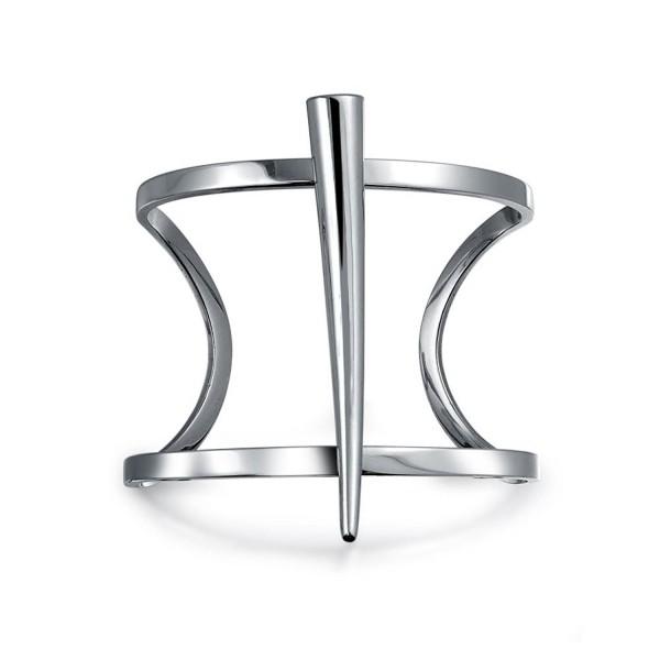 Bling Jewelry Stainless Steel Modern Statement Horn Cuff Bracelet - CJ12BW4JWF3