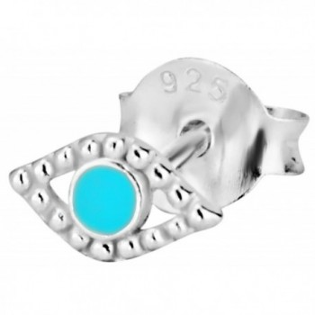 .925 Sterling Silver Evil Eye Teal Cartilage Stud Earring (Sold Individually) - CN11YLFTF3Z