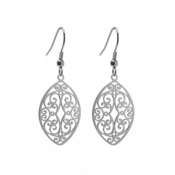 LD Silver Stainless Steel Filigree Oval Almond Dangle Earrings French Hook - CX17Z2H6NAH