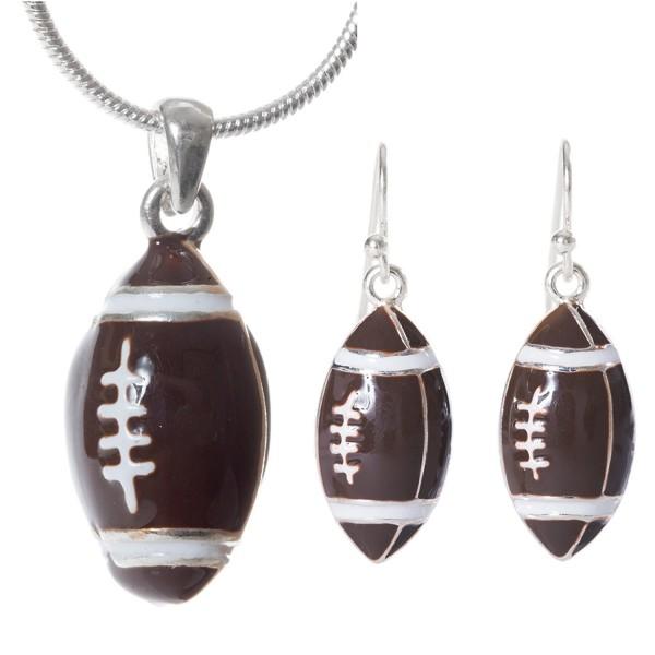 Artisan Owl - Football Pendant Necklace and Earrings Set - CS11YIZFCCV