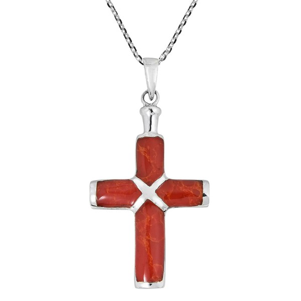 Christian Cross Reconstructed Red Coral Inlay .925 Sterling Silver Pendant Necklace - CV17Z2I809T