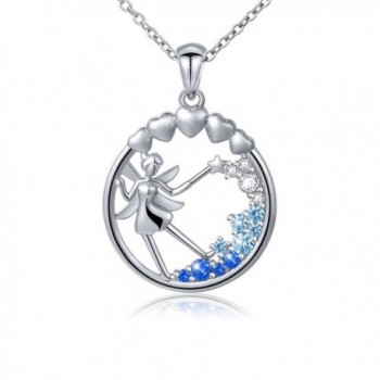 S925 Sterling Silver Fairy with Angel Wings Jewelry Pendant Necklace for Girls Women - CO183253559