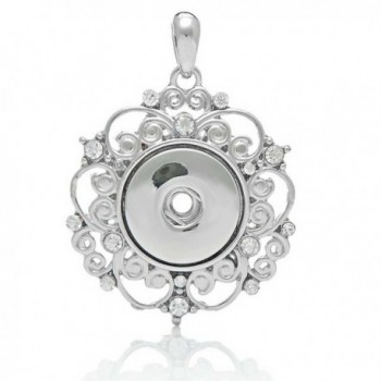 Souarts Silver Tone Color Hollow Out Round Rhinestone Snap Button Pendant For DIY Bracelet - CC1227RYE89