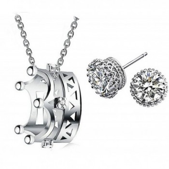925 Sterling Silver Crown Pendant Necklace Round Stud Earrings Set for Women Teen Girls Gift - CT1207ALTMV