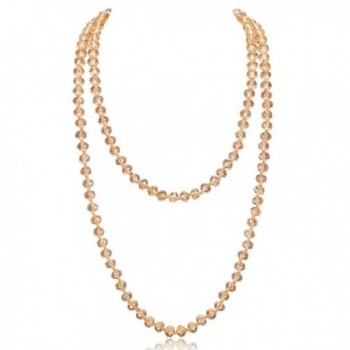 "Long Crystal Wrap Necklace Women Beaded Knotted Jewelry 48"" Champagne Bling Beads - CB187U55TCN"