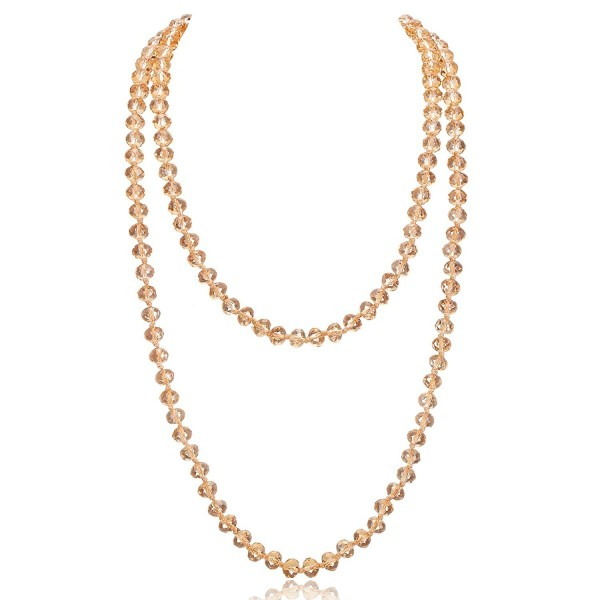 """Long Crystal Wrap Necklace Women Beaded Knotted Jewelry 48"""" Champagne Bling Beads - CB187U55TCN"""