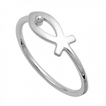 Sterling Silver Women's Thin Christian Fish Ring Unique 925 Band 6mm Sizes 4-10 - CM11GP30DMX