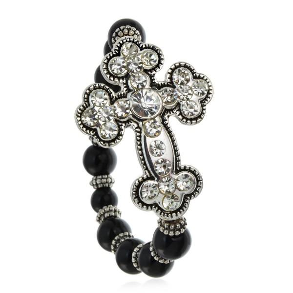 PammyJ Silvertone Clear Crystal Large Cross on Black Beaded Stretch Bracelet - CN12O7S928L