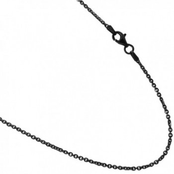 "Black Rhodium plated Over Sterling Silver 2mm Rolo Styled Link Necklace Chain. 16-18-20-24-30 36"" - CI12NAJ076F"