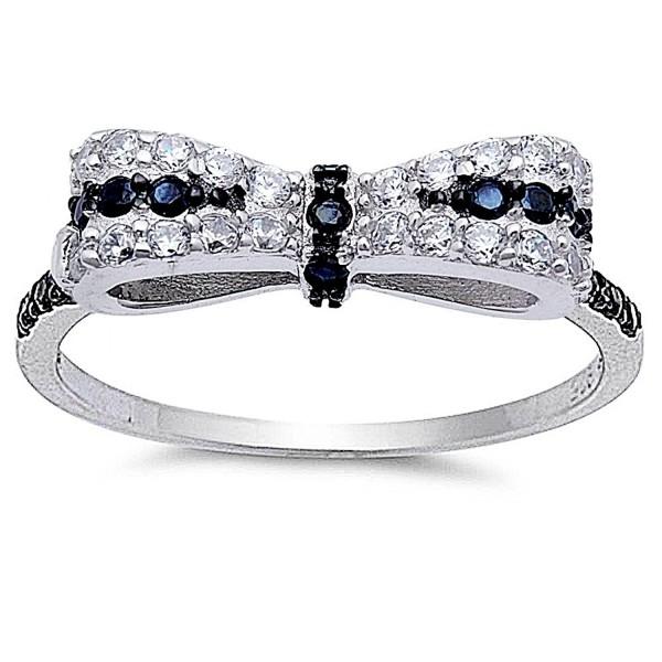 Black & White Cubic Zirconia Bow Tie Fashion .925 Sterling Silver Ring Sizes 4-12 - CW11N9QJ0W3