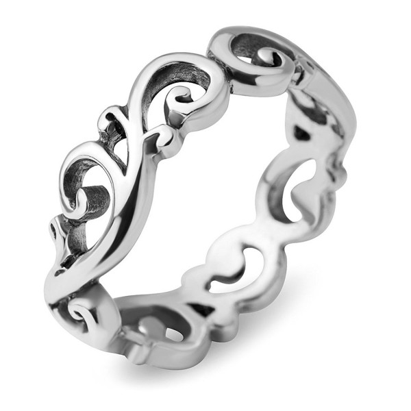 925 Sterling Silver Filigree Curves Swirl Pattern Wave Design Tribal Band Ring - Nickel Free - C517AACH0LQ