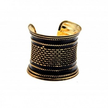 Basket Weave Effect Stunning Black and Gold Open Cuff Bracelet Bangle - CX17YEW6A64