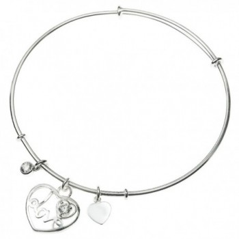 925 Sterling Silver Love in My Heart Cz Crystal Charm Adjustable Cuff Bangle - CG129IMCEIN