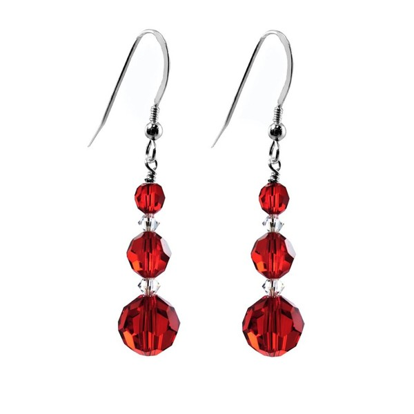 Earrings Made With Faceted Round Swarovski Crystal Elements Red Color Sterling Silver French Wire Cd11tep8m3b
