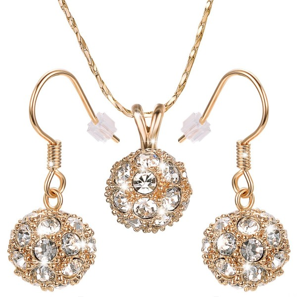 Yoursfs Jewelry Sets for Women 18K Gold Plated Sparkle CZ Ball Pendant Necklace Hook Earrings Bridal Set - Gold - CO11DLMLVSB