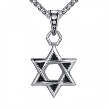 "Stainless Steel Star of David Religious Pendant Necklace- 24"" Link Chain- aap119 - CL12O8KUNVY"