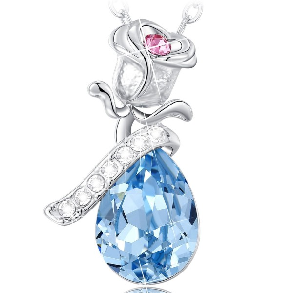 Crystal Necklace Birthday Anniversary Valentines - Blue - CJ124LDXTS3