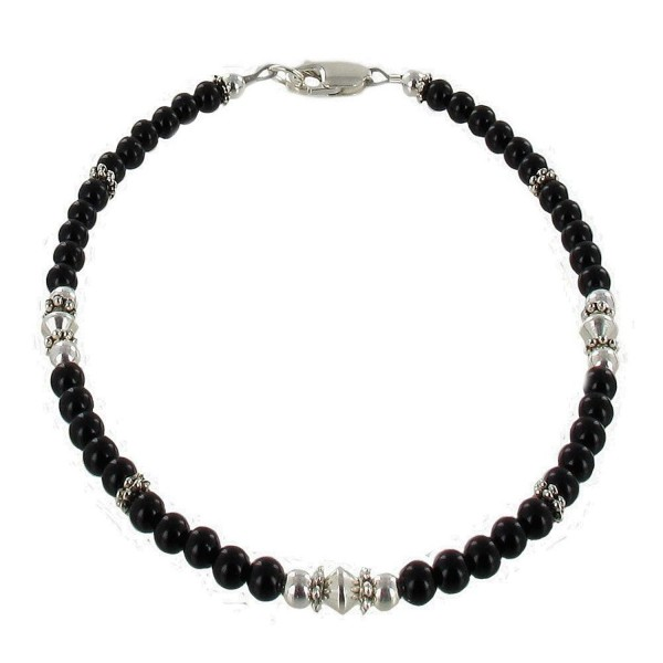 Womens Black Onyx & Sterling Silver Ladies Beaded Gemstone Anklet with Daisies - C011DUULR0B