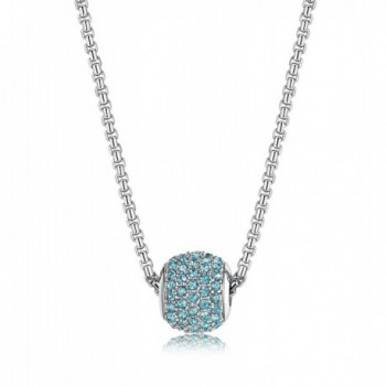 "LOYALLOOK Stainless Steel Birthstone Charm Beads Necklace for Women 18"" Rolo Necklace - March-Aquamarine - CF183905C75"