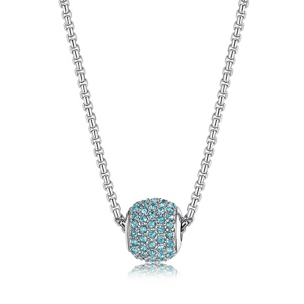 """LOYALLOOK Stainless Steel Birthstone Charm Beads Necklace for Women 18"""" Rolo Necklace - March-Aquamarine - CF183905C75"""