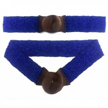 "Shiny Dark Blue Hand-made Elastic Stretchy Beaded Bali Belt With Wooden Hook Buckle - 2 1/4"" Wide - C011T160MIB"