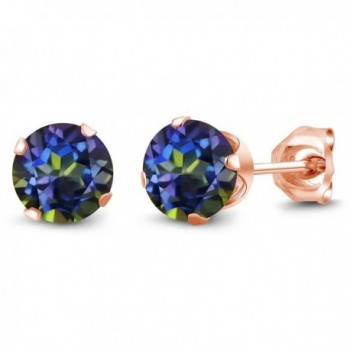 1.20 Ct Round Shape Blue Mystic Topaz Rose Gold Plated Silver Stud Earrings - CC1176PSU5V