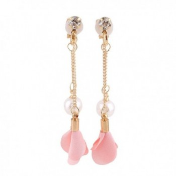 Grace Jun Gold Plated Handmade Frabic Flower Simulated Pearl Tassel Clip on Earrings No Pierced for Women - pink - CU183Z8G66W