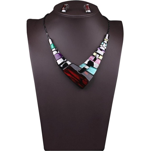Susenstone Women Multiple Splice Alloy Resin Necklace - CV12DDNR85R