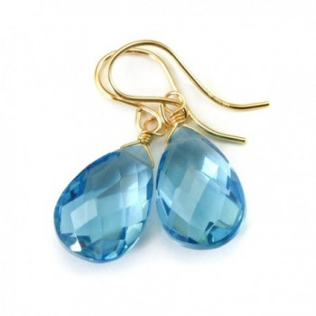 14k Gold Filled London Blue Earrings Faceted Simulated Topaz Pear Briolette Teardrops - CE11FG9338N