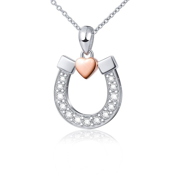 """Sterling Silver Lucky Horseshoe with Rose Gold Love Heart Star Pendant Necklace- Rolo Chain 18"""" - CB12O8K0K67"""