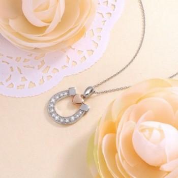 Sterling Silver Horseshoe Pendant Necklace in Women's Pendants