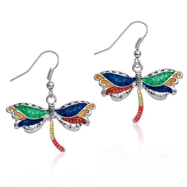 PammyJ Silvertone Multi Color Dragonfly Earrings - CZ11PQFM0JZ