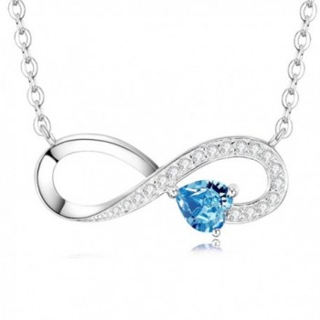 Birthstone Infinity Aquamarine Swarovski Anniversary - Blue Love Heart Infinity Necklace Jewelry - CZ187Q4S96C