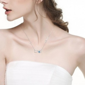Birthstone Infinity Aquamarine Swarovski Anniversary in Women's Y-Necklaces