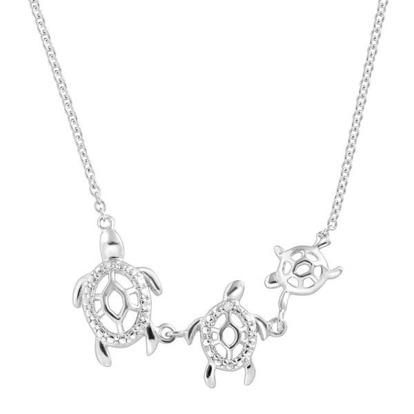 Turtle Family Necklace with Cubic Zirconia in Sterling Silver - CF17Y0ZY350
