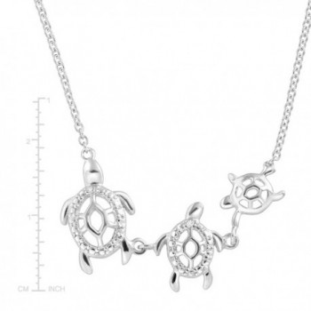 Turtle Family Necklace Zirconia Sterling in Women's Collar Necklaces