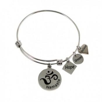 Expandable Charm Bangle Namaste Om Hope Dream Believe - CH128UICXMN