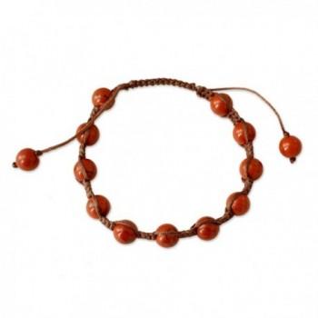 NOVICA Jasper and Cotton Macrame Shambhala Style Bracelet- Adjustable Length- 'Blissful Courage' - CO127RWWV39