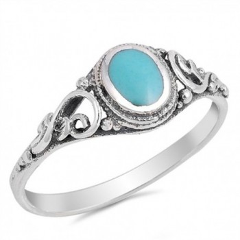 Sterling Silver Ring - Simulated Turquoise - CW129R7XON3