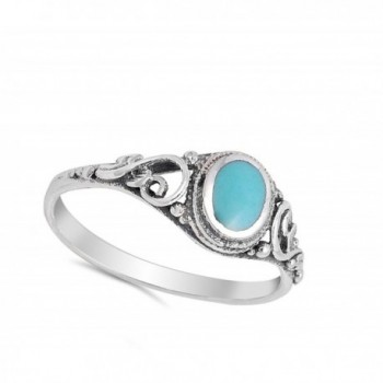 Filigree Simulated Turquoise Sterling Silver in Women's Band Rings