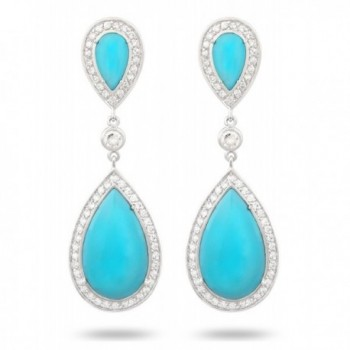 JanKuo Jewelry Rhodium Plated Artificial Turquoise Color with Cubic Zirconia Drop Earrings - CE11681QPZV