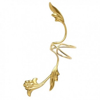 Ear Charm's Non-Pierced Flower and Leaf Full Ear Spray Ear Cuff Gold on Silver Left Earring Cuff - CQ12O8NE3IO