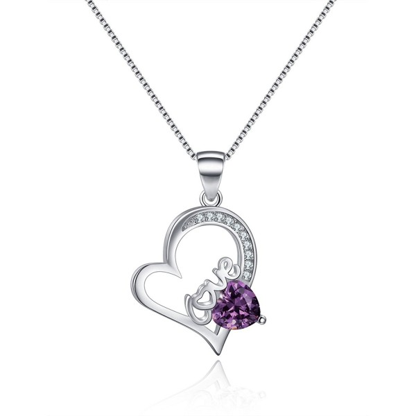 I Love You White Gold Plated Open Heart Sterling Silver Created Amethyst Necklace - Romantic Gifts - Purple - C312N8Z78LO