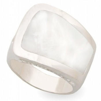 JanKuo Jewelry Rhodium Plated Mother of Pearl Cocktail Ring - C9115BYZDI1