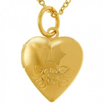 Lifetime Jewelry Tiny Heart Locket- 24K Gold Over Bronze- Pendant Necklace (Comes with or without Chain) - CS188DKO2HX