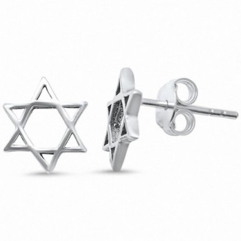 Plain Star of David Stud Earrings 925 Sterling Silver Choose Color - Sterling Silver - CD188GW55DO