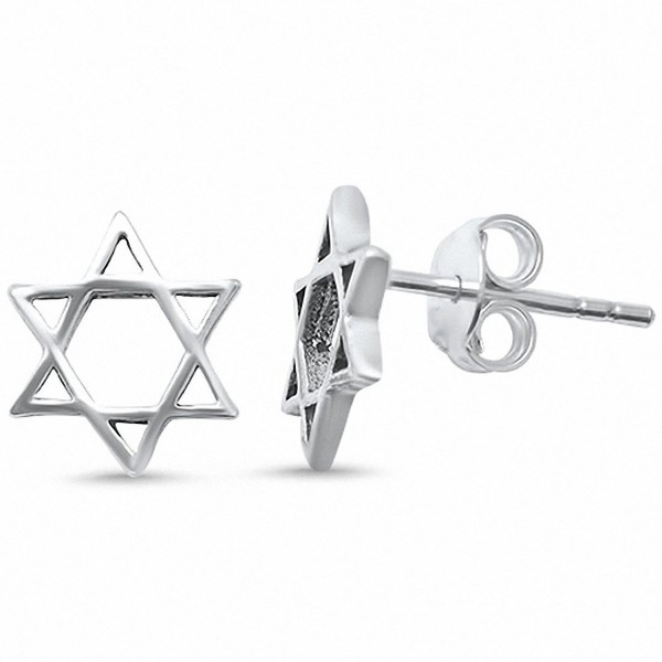 Star of David Stud Earrings .925 Sterling Silver