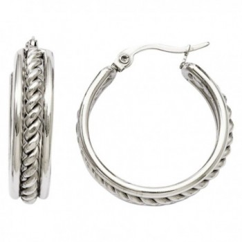 Stainless Steel 20mm Twisted Middle Hoop Earrings with Vi Star Polishingcloth - C511HUO0JST