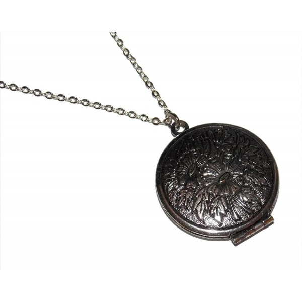 Flower Photo Locket Necklace Antiqued - CF124005YH1