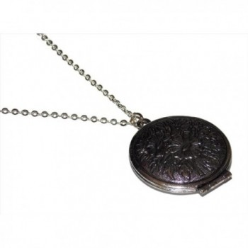Flower Photo Locket Necklace Antiqued
